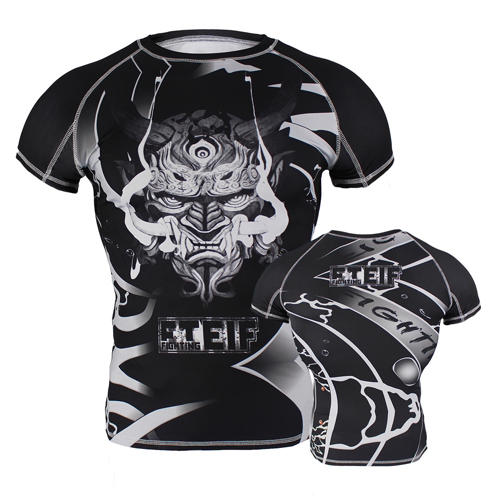 Cool Boxing T-shirt Compression Jersey Leopard MMA Rashguard KickBoxing Tight Short Tee Muay Thai Fightwear Running Gym T-shirt
