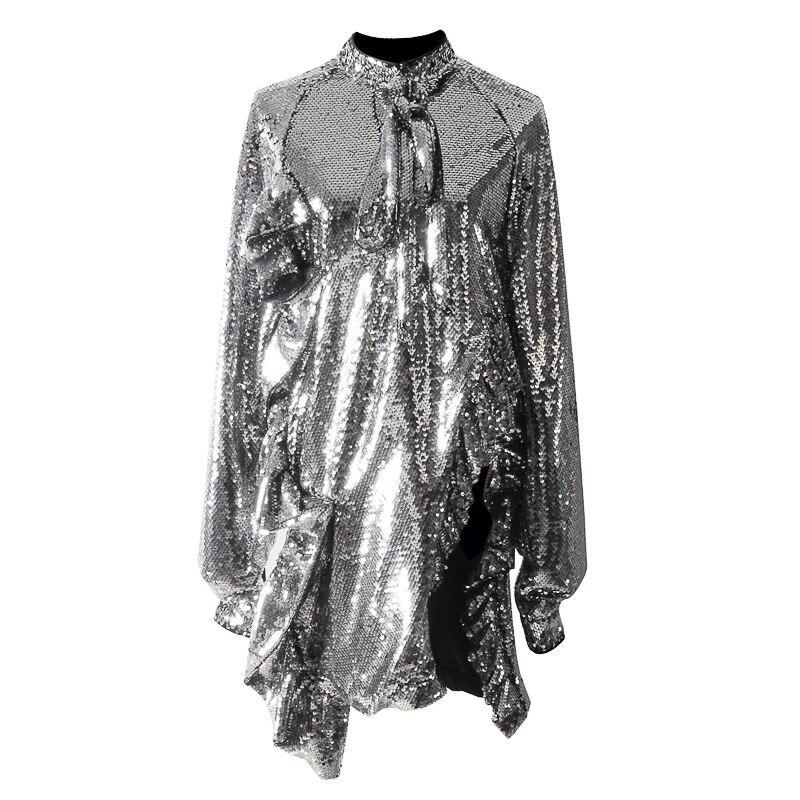 Женское весеннее платье с блестками 2019, сексуальное платье для ночного клуба Judi, тяжелые блестки, блестящее платье с оборками и длинными рукавами для женщин|Платья| | АлиЭкспресс