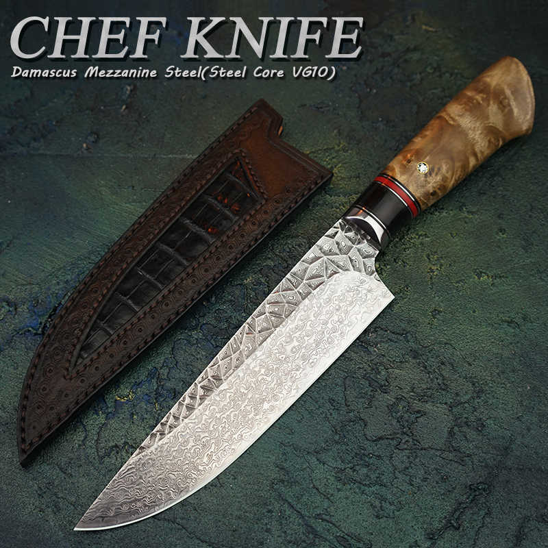 "FZIZUO 6.8""Damascus Steel VG10 Chef's Knife Japanese Style Gyuto Knife Kitchen Cooking Tools With Handmade Carved Leather Sheath"
