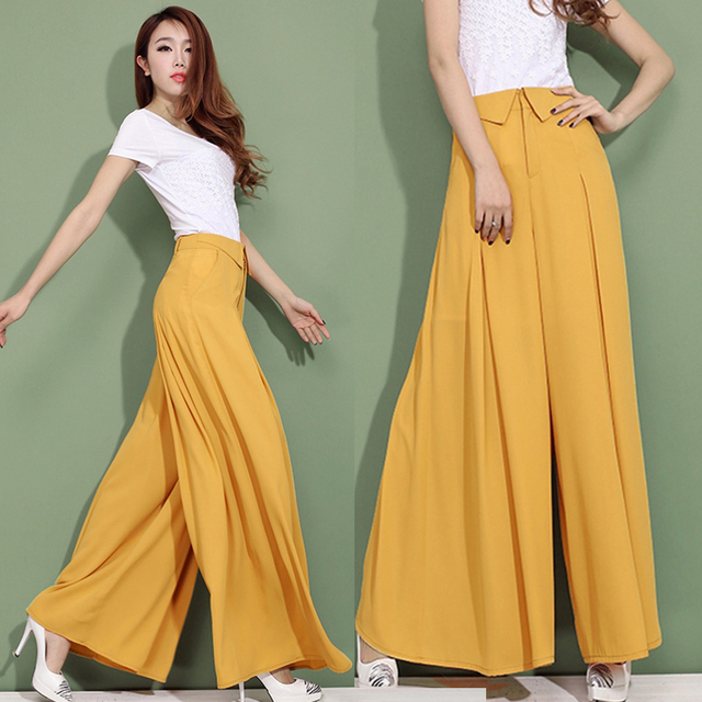 e77c20d9a81a Summer Autumn Women's Fashion Formal Wide Leg Chiffon Yellow Black White  Trousers , High Waist Female Casual Loose Dress Pants