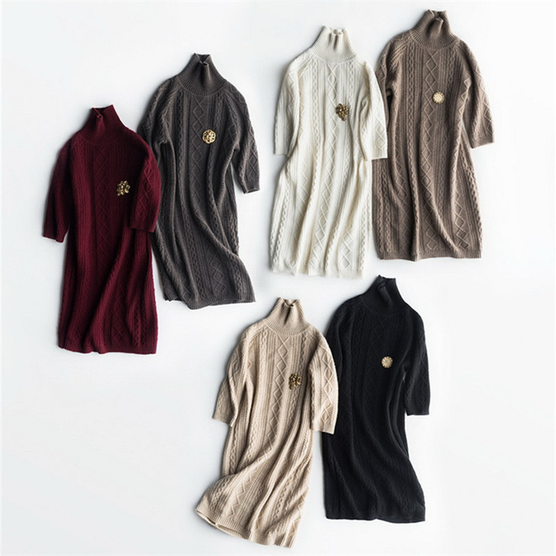 Top Grade 100%goat Cashmere Women's Fashion Half-sleeve Pullover Sweater Dress Turtleneck Mid-long 6colors S/M/L