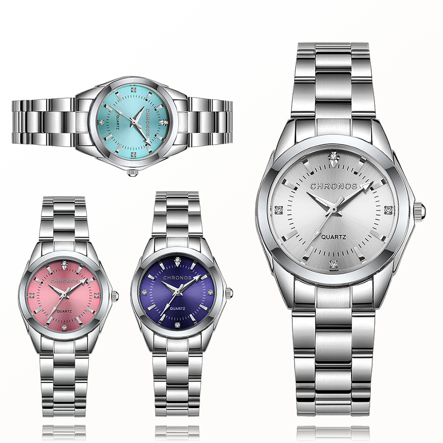 CHRONOS Women Luxury Rhinestone Stainless Steel Quartz Watches Ladies Business Watch Japanese Quartz Movement Relogio Feminino(China)
