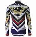 2016 nueva royal style hombres sport de lujo de moda de impresión de rayas diseño de manga larga camiseta Slim Fit hombre patrón de la camisa