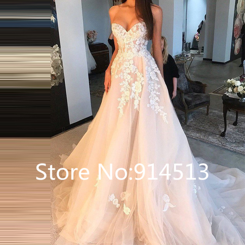 Image 2 - 2019 Hot Sale Sexy Tulle Strapless Trumpet Lace Wedding Dresses Cheap Beach Backless Bridal Dress Vestidos de Noivas-in Wedding Dresses from Weddings & Events