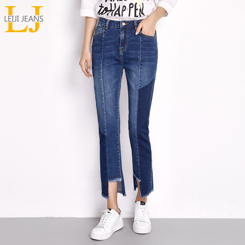LEIJIJEANS Cool Summer Plus Size Irregular Cutting Bleached Panelled Tassel Fit Style Straight Women Stretch   Jeans