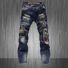 Mens Excessive High quality Patchwork Robin Denims 2015 Summer season Biker Denims Pantalon Jean Homme Male Denim PP Wash Strappati W28 W36MB16236