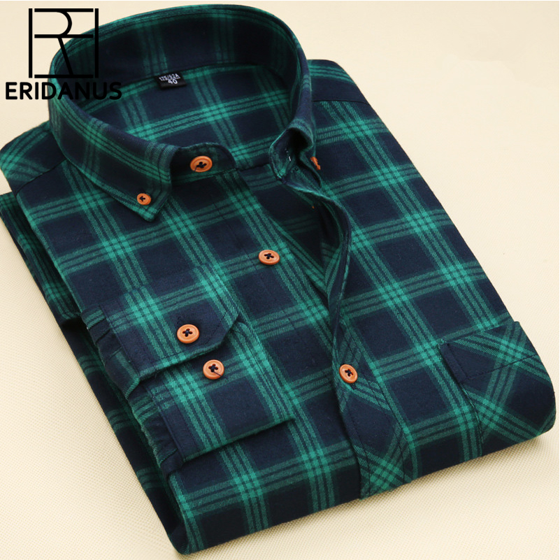 New 2017 Man Long Sleeved Plaid Shirts Classic Design High Quality Cotton Business Fashion Casual Men Dress Shirts M508