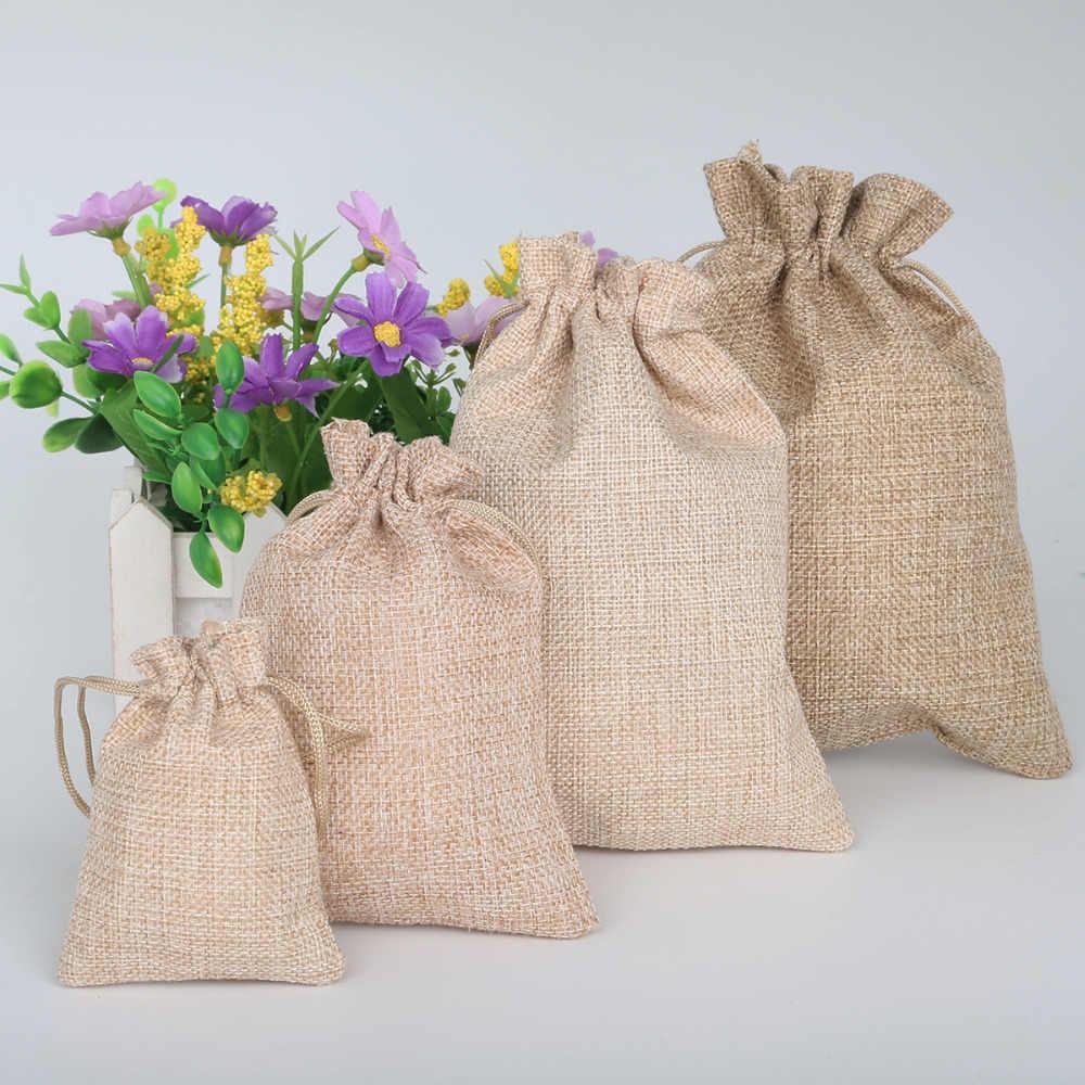 5 sztuk naturalne juta juta juta bawełniana pościel torby na prezenty upominek weselny uchwyt sznurek biżuteria muślin boże narodzenie etui