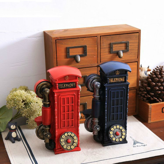 Home Decor Creative Gifts Resin Handicraft Wind Telephone Booth London Money Box Saving Shabby