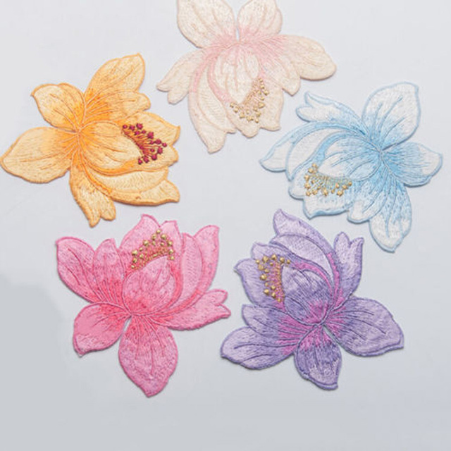 New Hot 1 Pc Lotus Flower Applique Clothing Embroidery Patch
