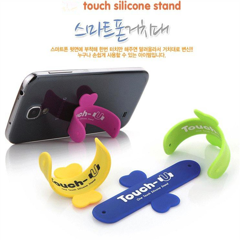 100PCS Touch-U Silicone Universal mobile Phone Holder lovely mini Portable one touch stand for iPhone X for Samsung ipad Tablet