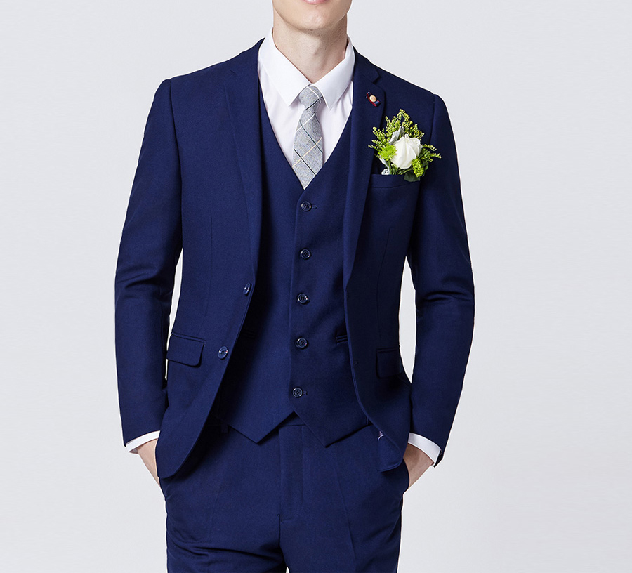 Elegant Navy Blue Men Skinny Formal Suits Custom Made 3 Pieces Prom Wedding Suit Business Tuxedos
