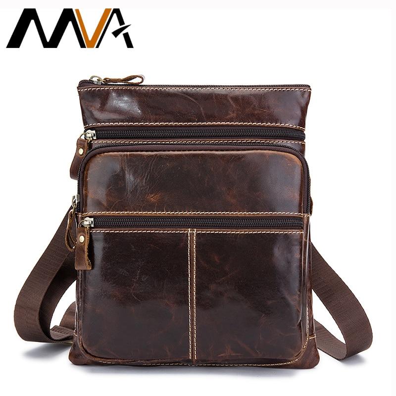 MVA bolsa de mensajero de los hombres de cuero genuino Vintage Crossbody Bolsas para hombres Bolsos de hombro de cuero hombre solapa pequeña bolsa de los hombres 8843