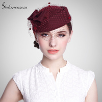 Hair Bow Headband Wool Formal Hat Beret Mesh Decoration Ladies Fascinator For Party Wedding Evening 5