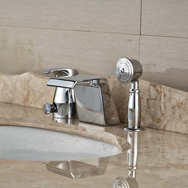 Deck Mounted Chrome Brass Waterfall Spout Bathroom Tub Faucet with Hand Spraye