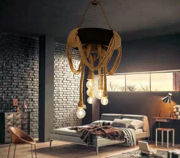 Industriële hennep touw creatieve persoonlijkheid retro nostalgie band hanger lamp - 2