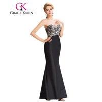 New Grace Karin Sweetheart Elegant Long Black Evening Dresses Leopard Pattern Sexy Split Back Formal Dresses