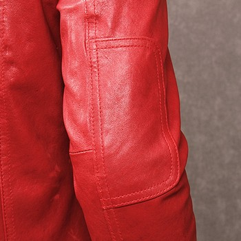 Chaqueta De Cuero Ajustada Para Hombre | Otoño Nueva Chaqueta De Piel De Cabra De Cuero Genuino Marca Coreana Delgado Ajuste Casual Bolsillos De Un Solo Pecho De Cuero Rojo Abrigo De Talla Grande