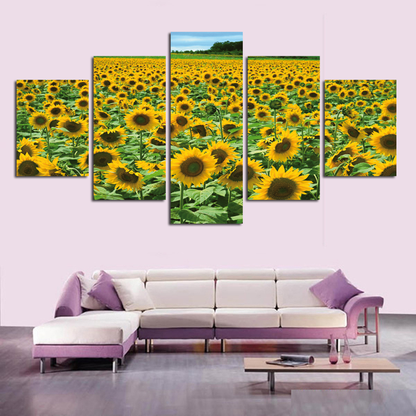 Hd print sunflower oil painting wall picture for living for 10x20 living room