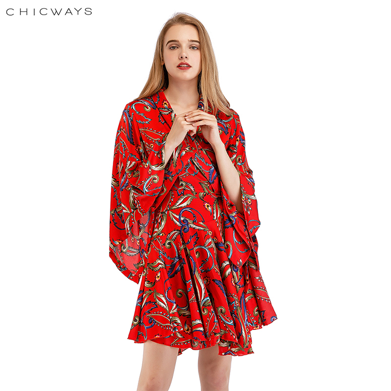 Chicways 2018 Printed Summer Dress Sexy Loose Ruffled Silk Satin Wrap Dress Deep V-Neck Bandage Kimono Sleeve Casual Vestidos white casual round neck ruffled dress