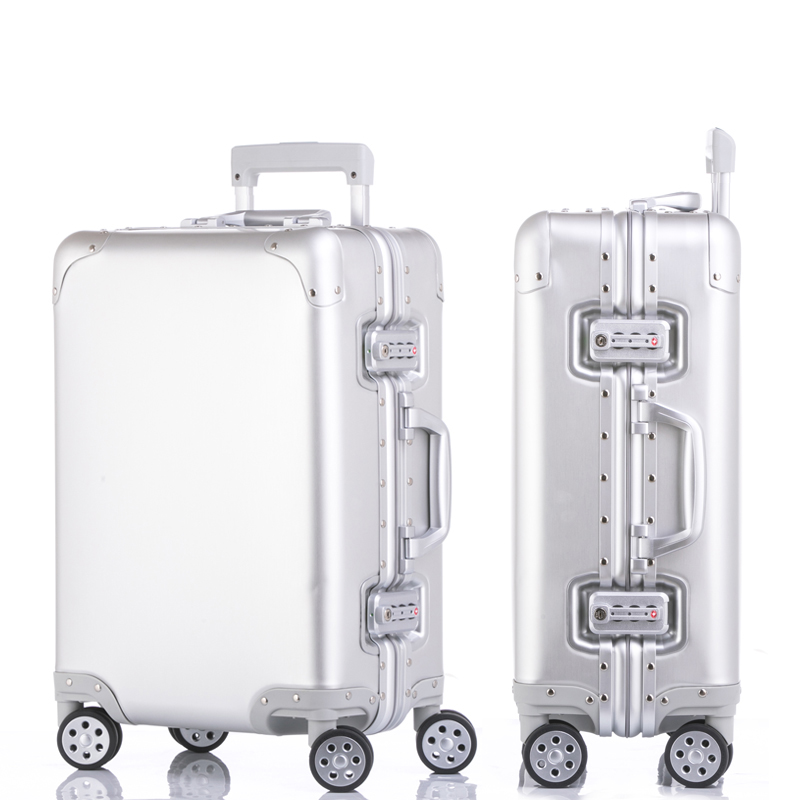 100% pure Aluminum Alloy pull rod suitcase 20/24/29 inch metal luggage fashionable new type of suitcase luggage pull rod box 4555 fashionable aluminum alloy smoking area ashtray deep blue