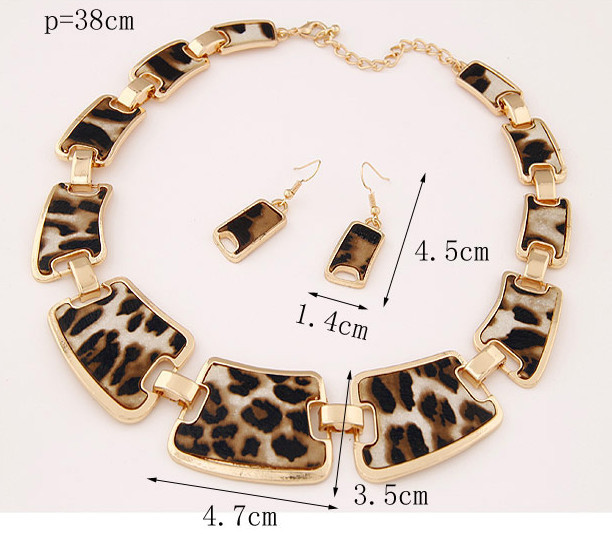 Kymyad Jewellery Sets Fashion Popular Elegant Punk Geometric Leopard Link Chain Necklace Earring Sets Fashion Women Accessories 2