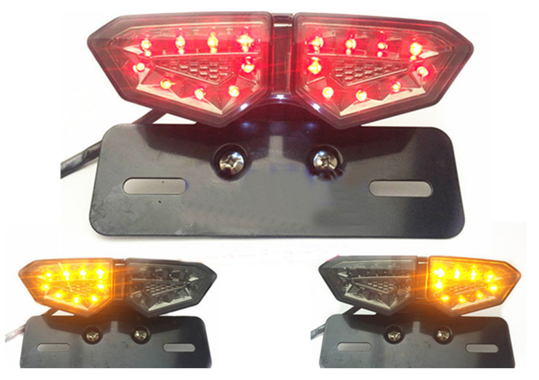 Led Lights For Motorcycle >> Motorcycle 18 LED Integrated Stop Turn Signal Off Road ATV brake lights Turn Color taillights ...