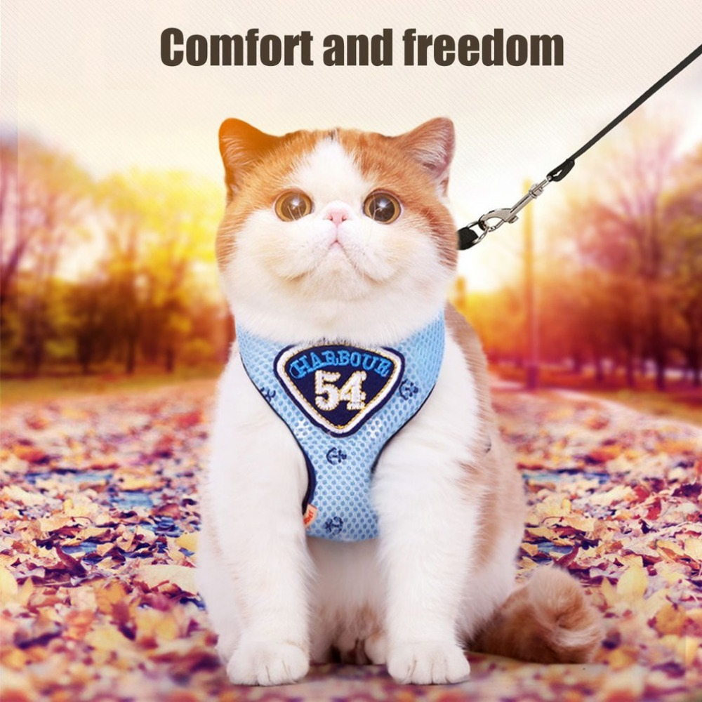 Hoopet Pet Cat Vest Harness Leashes Suit Harness Pet Cat Puppy Pet Cat Small Pet Pink/Blue Two Colors