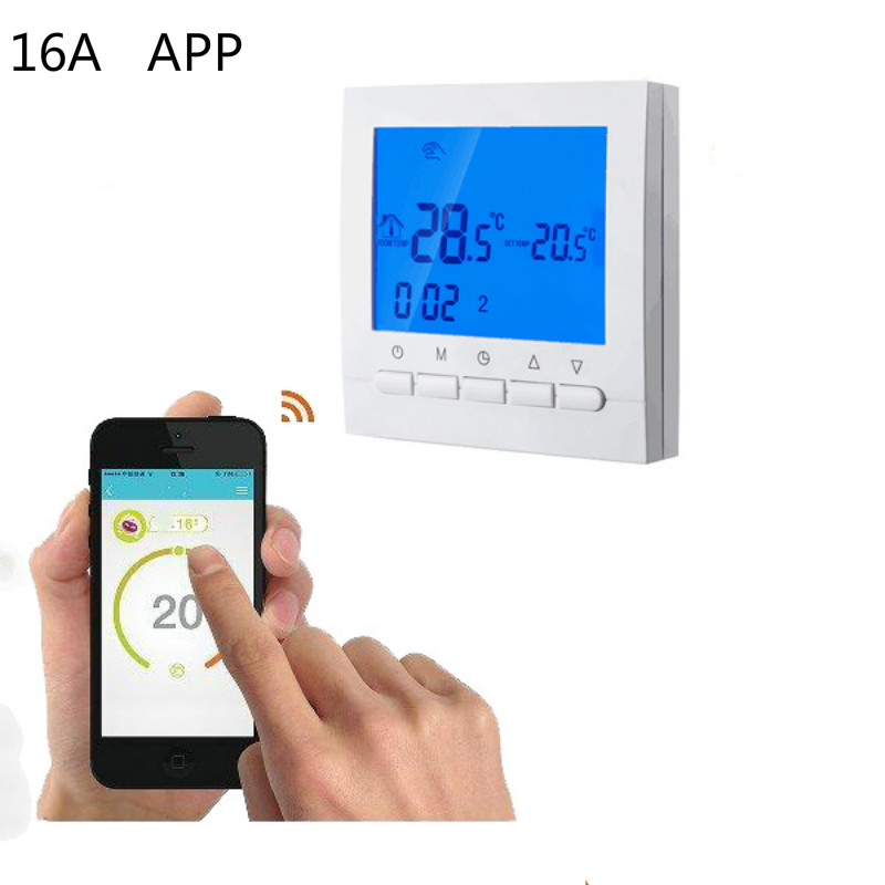 16A 3A Electric Water heating digital weekly programmable WIFI thermostat by smartphone Remote radio APP control wireless image