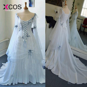 Image 1 - Vintage Celtic Wedding Dresses White and Pale Blue Colorful Medieval Bridal Gowns Scoop Corset Long Flare Sleeve Flowers