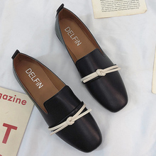 Moxxy 2018 Autumn New Arrival Flat Heel Shoes Round Toe Metal Loafers Women Slip On Tie design Casual Leather Flats Loafers