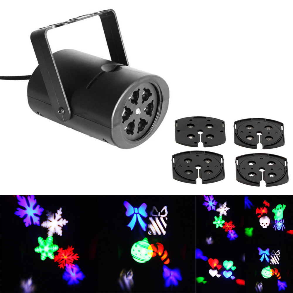 3W 4 Patterns RGB  LED Stage Effect Light Laser Projector for Xmas Christmas Party Disco DJ Bar Club KTV Lamp LED Logo light led effect show stage lamp for dj ktv bar disco lights laser projector showers light christmas holiday home decoration lighting