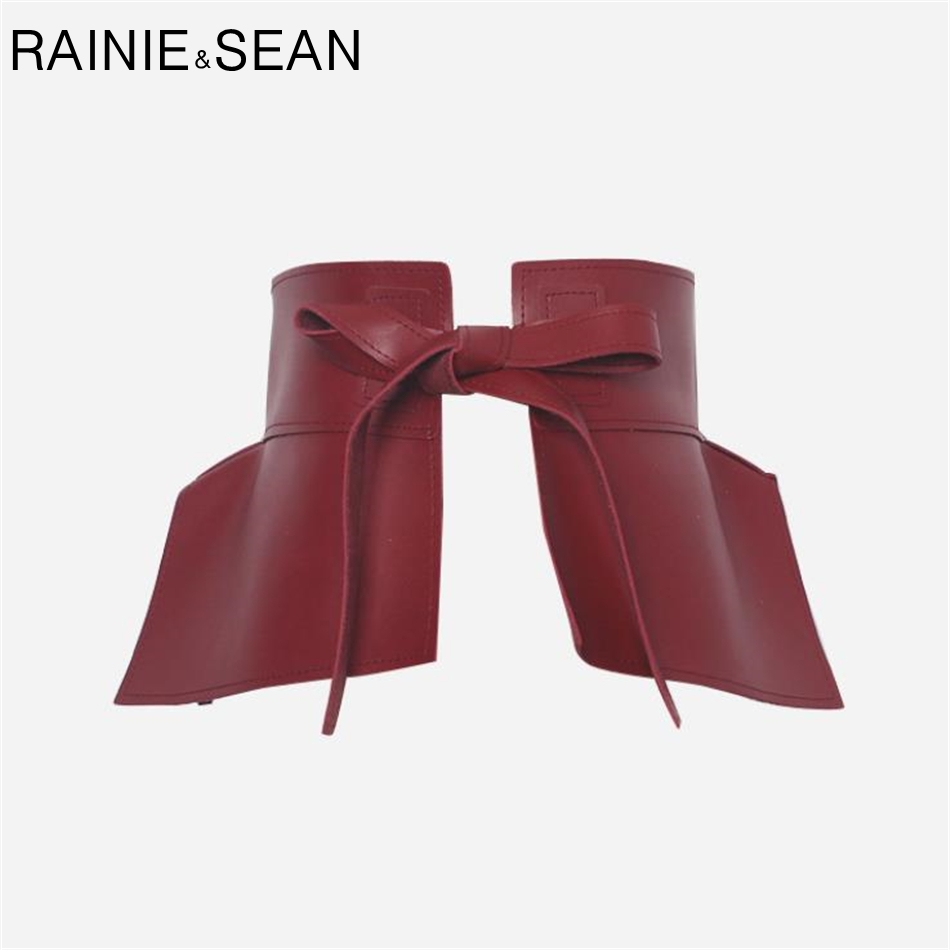 RAINIE SEAN Leather Belt Women Wide Cummerbund Ladies Waist Belts Red Novelty Self Tie Female Leather Skirt Corset Accessories