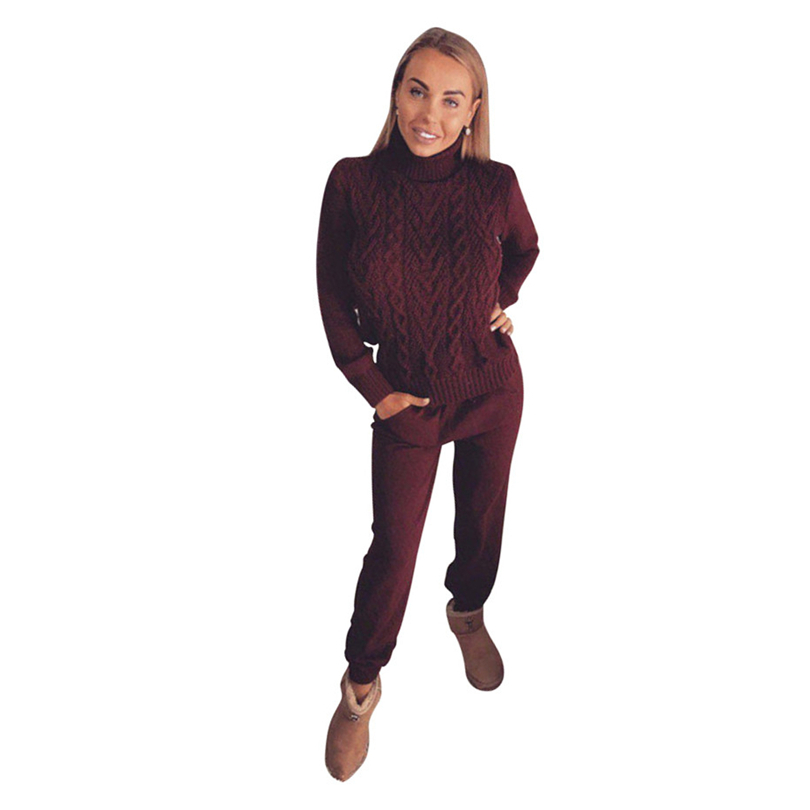 MVGIRLRU Women's wool warm Suits soft dense Knitted suit female tracksuit twisted high collar sweater pant two piece set
