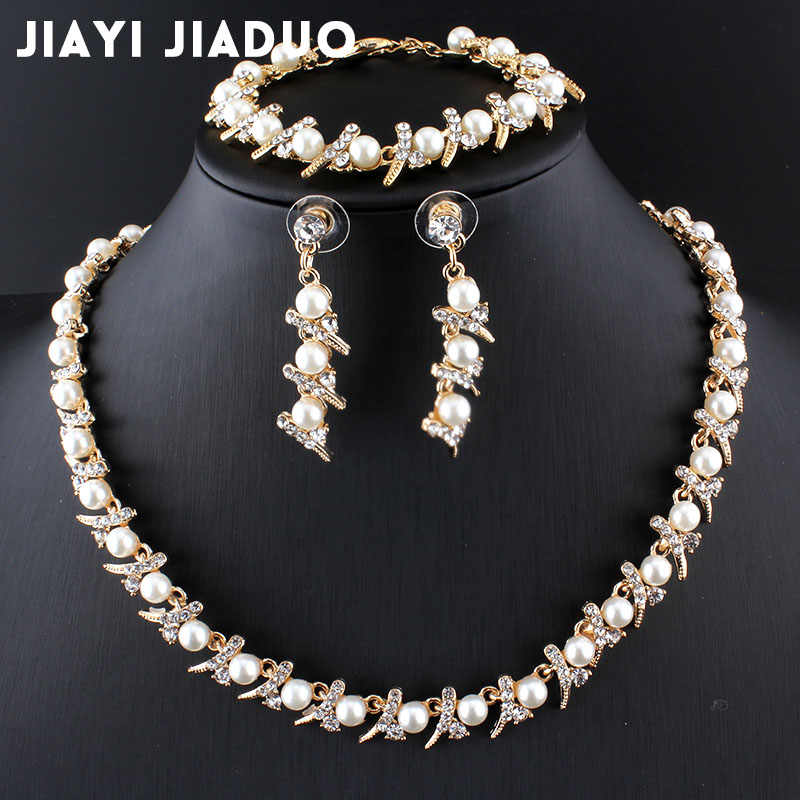 jiayijiaduo Cassic imitation Pearl jewelry set African bead for women Wedding accessories gold color necklace long earrings 2017
