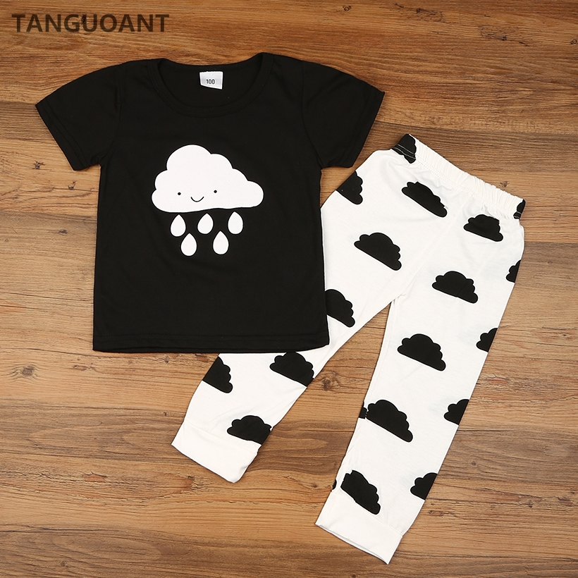 TANGUOANT Hot Sale Baby Girl Boy Clothes Spring Newborn Baby's Sets T shirts+Pants 2pcs Clouds Rain Newborn Baby Girl Clothes baby girl clothes baby winter suit spring and autumn warm baby boy clothes newborn fashion cotton clothes two sets of underwear