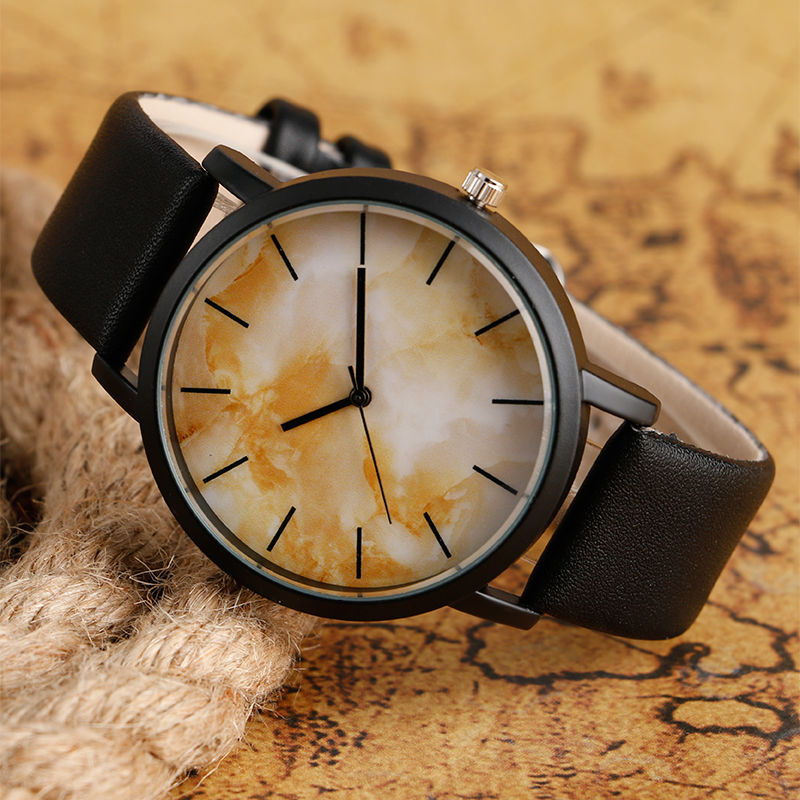 2016 Hot Selling Wristwatch Analog Chic Dial Yellow/Black Dial Quartz Watch Leather Band Wrist Watch For Men Women Gift