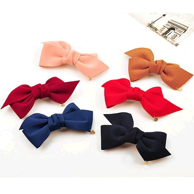 2016 New Arrival Big Solid Cloth Bows Hair Clips Hairpins Hair Accessories for Women Girl Wedding Hair Jewelry Free shipping 5