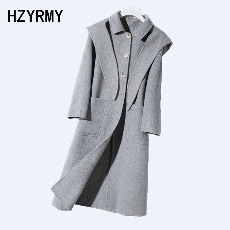 180ba1c4e2af0 HZYRMY-di-Inverno-delle-Nuove-donne-cappotto-di-Cachemire-Di-Lana-di -Colore-Solido-Con-Cappuccio.jpg