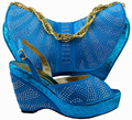 MM1005 Turkey blue shoes and bag!African shoes and matching bags!popular style women shoe and bag in New design.