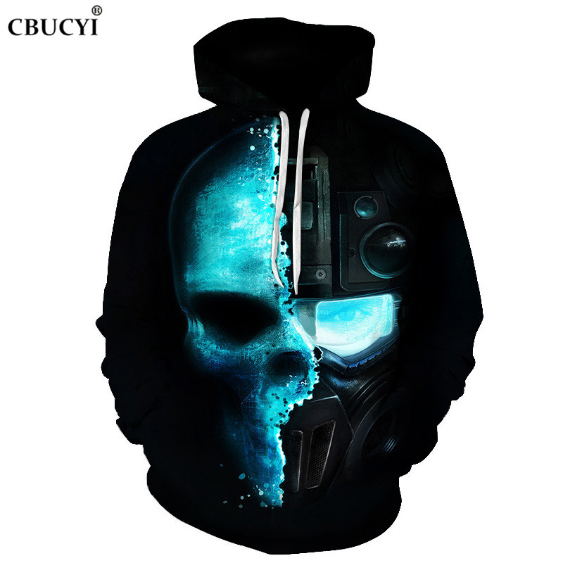 Robot Skull Sweatshirt Men and Women 3D Pullover 2018 Autumn and Winter Fashion Men's Harajuku Hoodie + 6XL CBUCYI