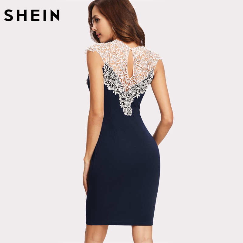 New Ladies Sleeveless Floral Lace Black Ivory Contrast Women/'s Bodycon Dress