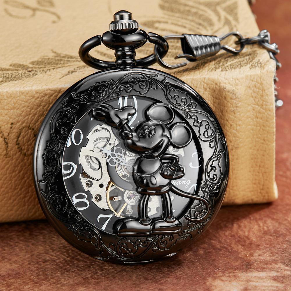 Original dos Desenhos Animados do Rato de Bronze Cadeia para Mulheres dos Homens de Vento Relógios de Bolso com Corrente Romano Dial Mehanical Relógio Mão Mecânica Fob