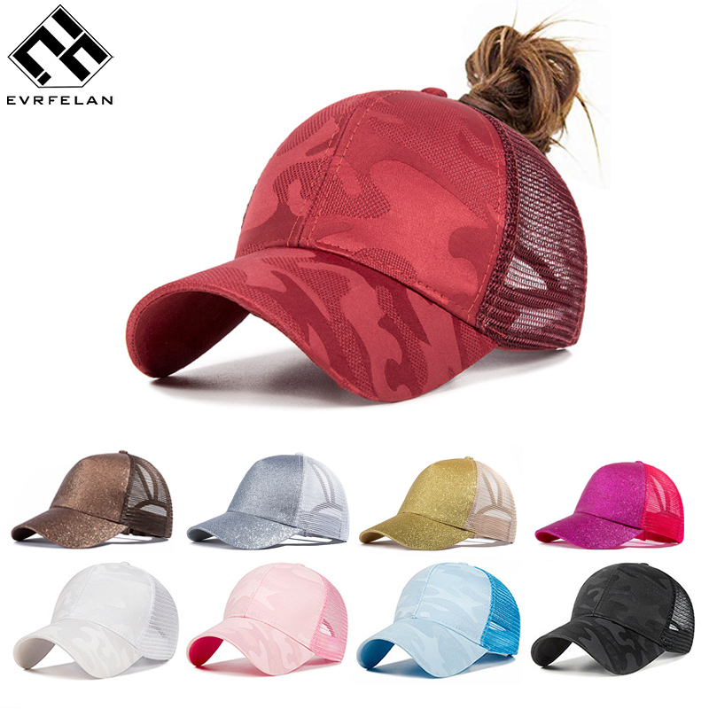 Evrfelan New Design Ponytail Caps For Women Camo Pattern Mesh Cap Summer Baseball Cap Women's Dad Hat Convenient gorras(China)