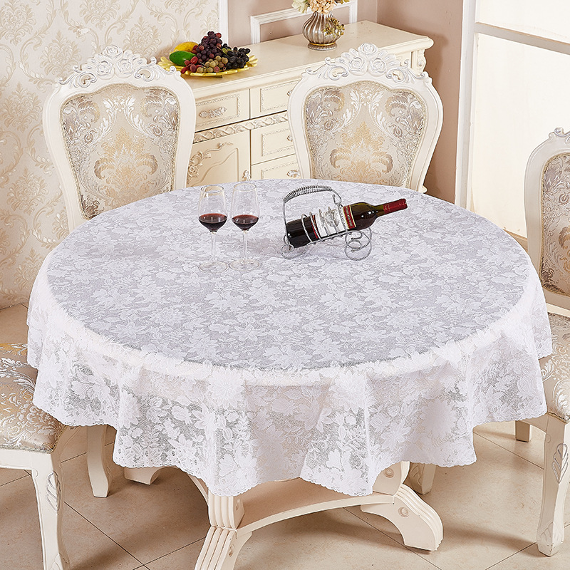 NIOBOMO European-style flower plastic PVC round tablecloth waterproof and oiproof garden hotel home dining table cloth ...