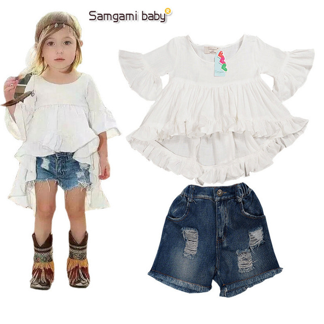 2016 New Shorts Girl Princess Baby Girl Clothes Summer 2pcs White T-Shirt+Jeans Kids Clothes Girls Casual Meisjes Kleding