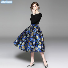 2019 Spring Print Dress Women Work Casual Slim Fashion O-Neck Party Dresses For Ladies A-Line Vintage Vestidos New Arrival S~XL