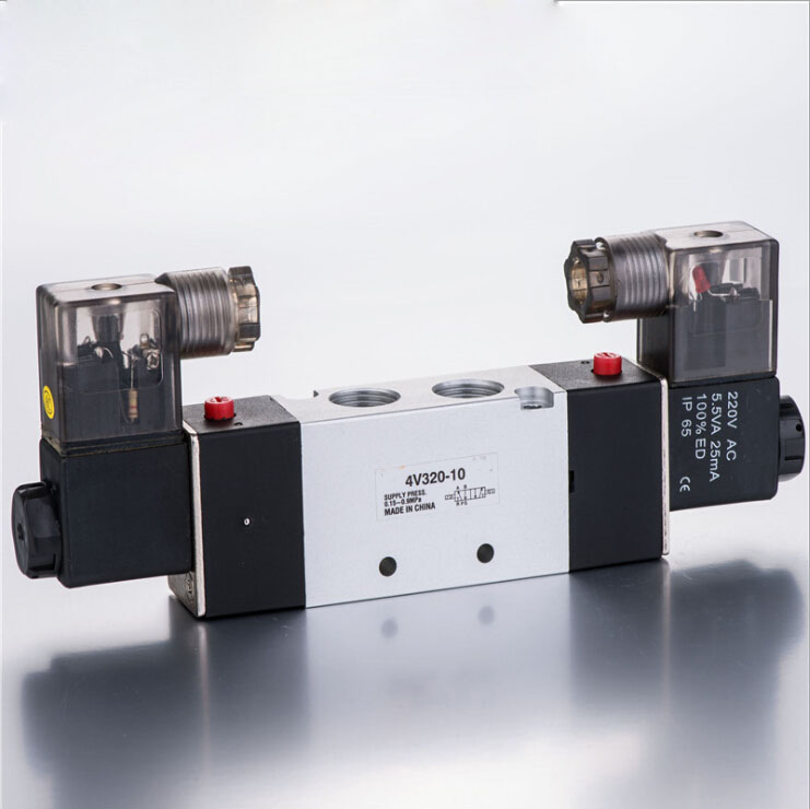 4V320-10 5Way 2 Position Double Solenoid Pneumatic Air Valve 3/8 BSPT AC 220V DC12V,DC24V,AC24V,AC110V dc24v inner guide type 2 position 3 way solenoid valve