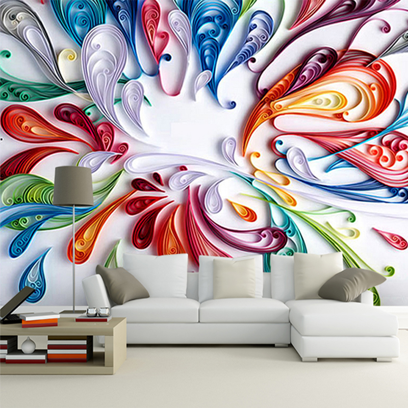 Custom 3D Mural Wallpaper For Wall Modern Art Creative Colorful Floral Abstract Line Painting Wall Paper For Living Room Bedroom