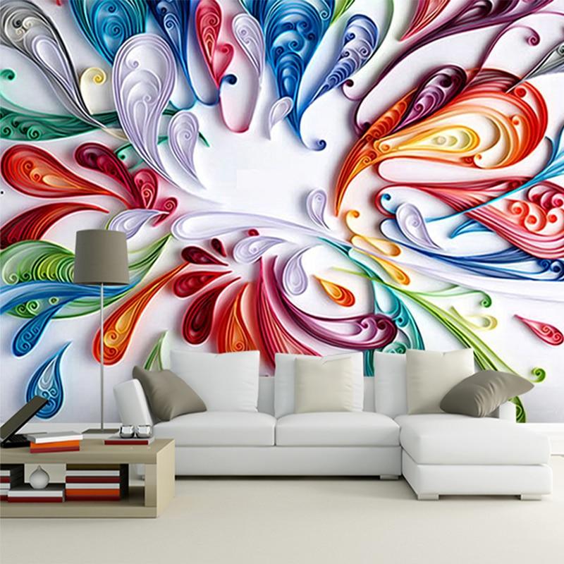 Modern Art Wallpaper: Custom 3D Mural Wallpaper For Wall Modern Art Creative